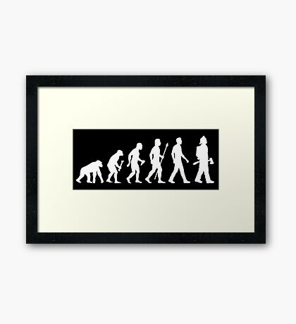 Funny Firefighter Evolution Shirt Framed Print