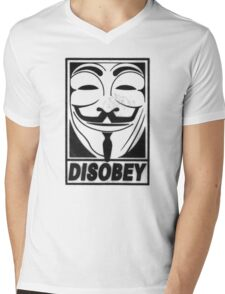 Guy Fawkes/Anonymous/V for Vendetta: DISOBEY Mens V-Neck T-Shirt