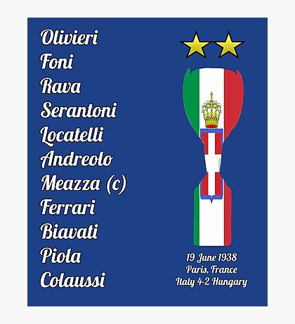 Italy 1938 World Cup Final Winners Photographic Print
