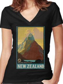 Vintage poster - New Zealand Women's Fitted V-Neck T-Shirt