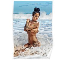 Sexy Tattooed Woman Posing in Hawaiian Surf with Crashing Waves Poster