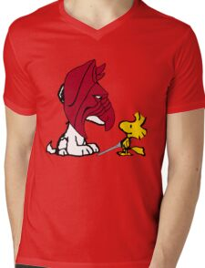 Battle Snoopy and He-Bird Mens V-Neck T-Shirt