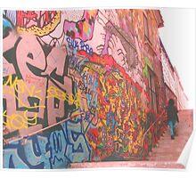 Walking by graffiti street Poster