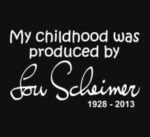My Childhood was Produced by Lou Scheimer - White Font One Piece - Long Sleeve