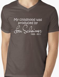 My Childhood was Produced by Lou Scheimer - White Font Mens V-Neck T-Shirt