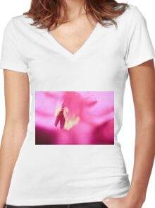 Christmas Cactus Close Up Women's Fitted V-Neck T-Shirt