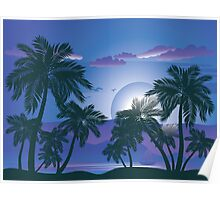Palm Tree at Night 4 Poster