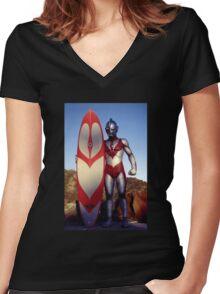 Surf Ultraman 1 Women's Fitted V-Neck T-Shirt