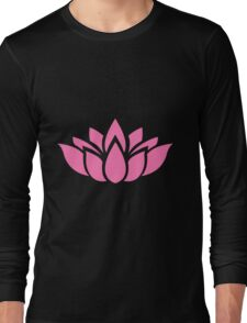Pink Lotus Flower Silhouette Long Sleeve T-Shirt