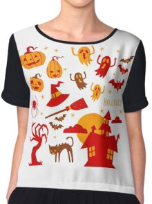 Happy halloween card design related elements Chiffon Top