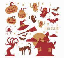 Happy halloween card design related elements Baby Tee
