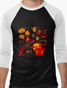 Happy halloween card design related elements Men's Baseball ¾ T-Shirt