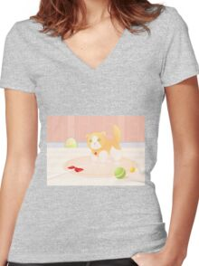 Cat playing in home Women's Fitted V-Neck T-Shirt