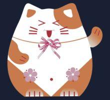 Fat cat sitting art Kids Tee