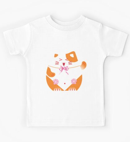 Fat cat sitting art Kids Tee