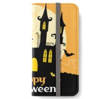 Hunted castle under moon happy halloween card iPhone Wallet/Case/Skin