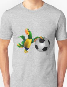 Cute Brazilian parrot leaning on a football T-Shirt