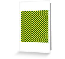 Green And Yellow Checker Pattern Greeting Card