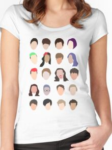 youtuber flat design collage Women's Fitted Scoop T-Shirt