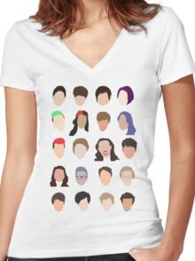 youtuber flat design collage Women's Fitted V-Neck T-Shirt