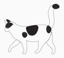 White cat walking clip art Kids Tee