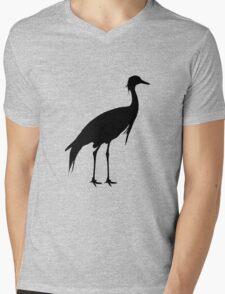 Crane silhouette art Mens V-Neck T-Shirt