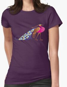 Beautiful pink peacock Womens Fitted T-Shirt