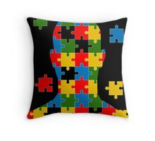 puzzle head design Throw Pillow