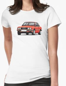 BMW E30 (3-serie) illustration, red Womens Fitted T-Shirt
