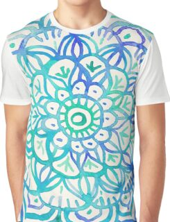 Watercolor Medallion in Ocean Colors Graphic T-Shirt
