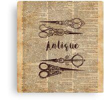 Antique Scissors Old Book Page Design Canvas Print