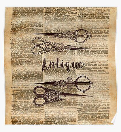 Antique Scissors Old Book Page Design Poster