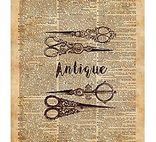 Antique Scissors Old Book Page Design Photographic Print