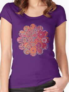 Psychedelic Ombre Flower Doodle Women's Fitted Scoop T-Shirt