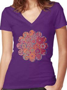 Psychedelic Ombre Flower Doodle Women's Fitted V-Neck T-Shirt