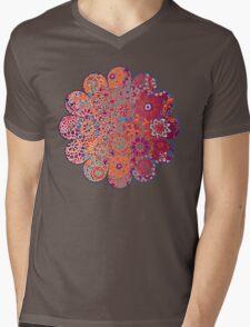 Psychedelic Ombre Flower Doodle Mens V-Neck T-Shirt