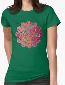 Psychedelic Ombre Flower Doodle Womens Fitted T-Shirt