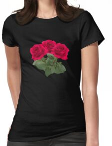 Three red roses Womens Fitted T-Shirt