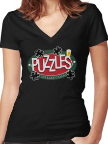 PUZZLES BAR - NO LAST CALLS! Women's Fitted V-Neck T-Shirt