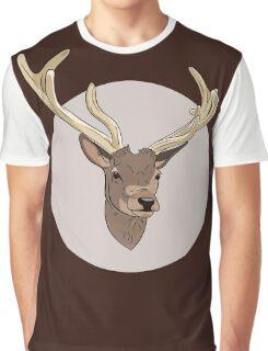 Deer head illustration print Graphic T-Shirt