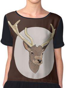 Deer head illustration print Chiffon Top