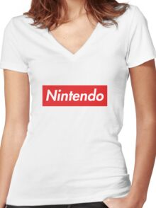 "Nintendo ""sup"" style Women's Fitted V-Neck T-Shirt"