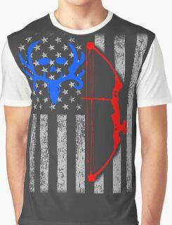 american bow hunting USA flag Graphic T-Shirt