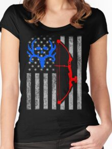 american bow hunting USA flag Women's Fitted Scoop T-Shirt