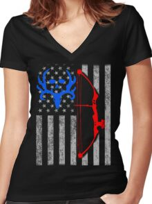 american bow hunting USA flag Women's Fitted V-Neck T-Shirt