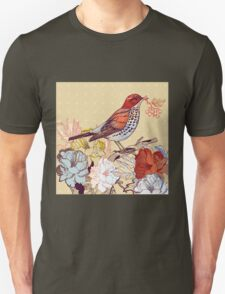 Beautiful detailed bird on a branch background T-Shirt