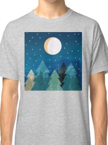 Coniferous forest with the background of the dark blue sky. Full moon.  Drawing Classic T-Shirt