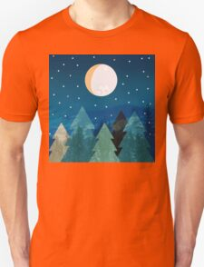 Coniferous forest with the background of the dark blue sky. Full moon.  Drawing T-Shirt