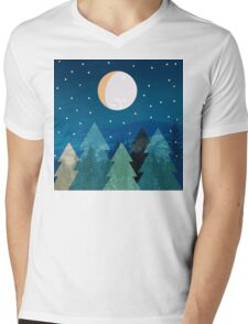 Coniferous forest with the background of the dark blue sky. Full moon.  Drawing Mens V-Neck T-Shirt