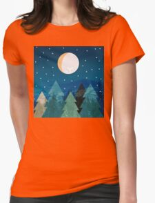 Coniferous forest with the background of the dark blue sky. Full moon.  Drawing Womens Fitted T-Shirt